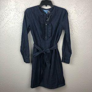 Draper James Dresses - New Draper James Chambray Ruffle Placket Dress 0